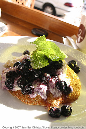 Banana Pancakes with Honey Ricotta and Blueberries
