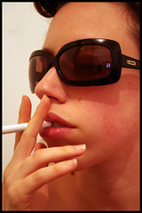 Mode ? (Lihi Arad) Tags: portrait color reflection me sunglasses cigarette smoke lips smoking heroes up close hair funny