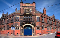 somme barracks (Harry Halibut) Tags: blue red building brick car sheffield tram wires gateway allrightsreserved glossoproad sommebarrakcs gellstreet redsheff andrewpettigrew