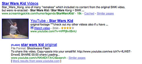 Star Wars Kid in Google Universal Search