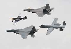 USAF Heritage Flight (Chris M 44) Tags: sky airplane flying andrews fighter power aircraft military wwii maryland airshow demonstration raptor f22 bomber warbird afb p51 worldwartwo afterburner airsuperiority a10a f15c commemorativeairforce 2007jointservicesopenhouse advancedtacticalfighter photofaceoffwinner pfogold