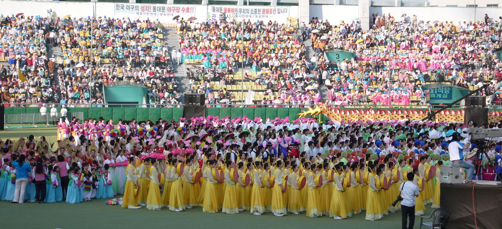 Dongdaemun stadium opening ceremony. The entire crowd was part of the spectacle
