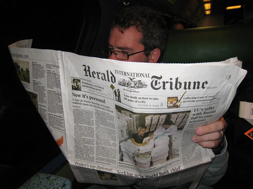 Reading the International Herald Tribune