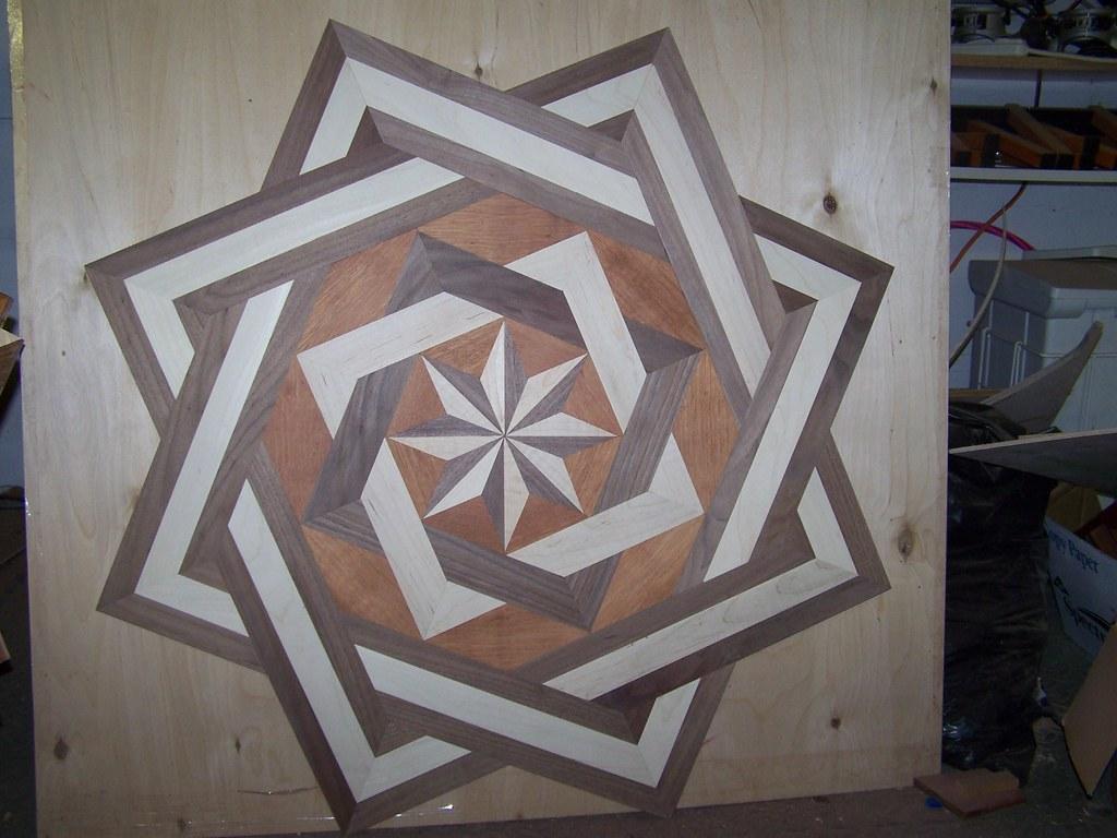 "Church - All Edge Glued - 39"" Double Square Hardwood Floor Medallion Inlay"