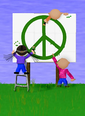 peace sign (catnapping) Tags: blue cute green illustration painting children graffiti paint peace digitalart paz billboard missoula illustrationfriday pace naive peacesign anticorporate paix      drawingwithamouse microwavereflector