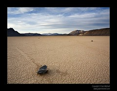Crossing Tracks, Racetrack Playa. Death Valley National Park (G Dan Mitchell) Tags: california racetrack moving nationalpark rocks crossing desert dusk tracks playa deathvalley travelphotography landscapephotography colorphotograph induro gdanmitchell