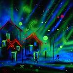 haus uv mond nacht kunst art roeschke landschaft