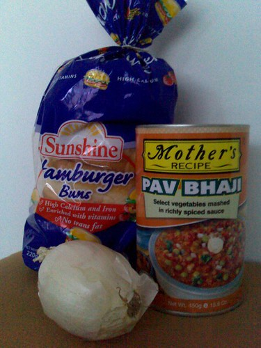 Mother's Recipe Pav Bhaji plus some random hamburger buns and an onion