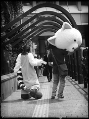 After a Long Day (Danz in Tokyo) Tags: people blackandwhite bw japan headless japanese tokyo asia sad head walk candid expressions monotone mascot  nippon  stroll fz30 nozoom realpeople danz danzintokyo candidandnozoom realtokyo tokyocandid