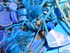 Blue Junk (Plymography Down Under!) Tags: county uk blue sea summer england art beach colors bay bottle sand junk cornwall colours top cost rope litter plastic views rubbish washed catchy ashore countyside jasonnolan whitsand whitsands plymography wwwplymographycom claimthecoast plymographycom