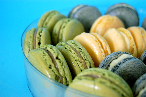 Green Tea, Mango & Black Sesame Macarons