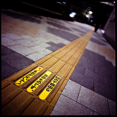 follow the yellow brick road (TommyOshima) Tags: street yellow 50mm blind bronica nikkor f28 astia ectl brailleblock