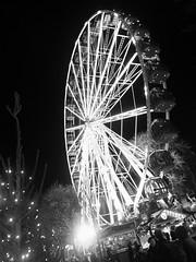 round and round and round she goes (byronv2) Tags: blackandwhite blackwhite bw monochrome festive festivemarket christmasmarket festivefair princesstreet princesstreetgardens edinburgh edinburghbynight edimbourg scotland winter market fair bigwheel wheel ferriswheel fairgroundride round night nuit nacht