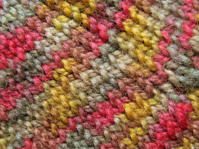 Double point knit sock detail