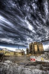 Lafarge (Jason Allies) Tags: blue winter sky toronto sign clouds docks factory cloudy pop 09 photomatix