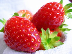 Strawberries, from the garden, clean.