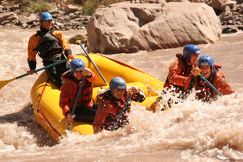 Raft in rapids in Mendoza River
