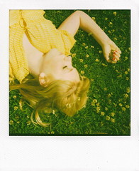 chloe (Let'sExplode) Tags: red girl yellow shirt polaroid nails blond clovers