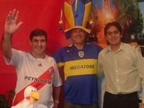 Edgardo Quaglia (presidente de filial de River), Enrique Seia (presidente peña de Boca), Leandro Aldana (co-conductor de Radio-Imagen)