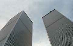 The Twin Towers (TheMachineStops) Tags: nyc building terrorism 1984 91101 2001 godblessamerica patriotism usa wtc destroyed film pre911 america twintowers worldtradecenter 35mmscan september112001 september11 newyorkcity analog outdoor 911 minoruyamasaki manhattan views7000