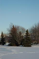 Anchorage Park Strip, Alaska, Moon near full