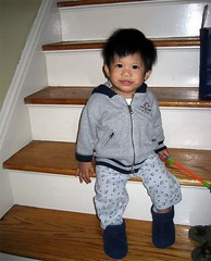 the baby on the stairs