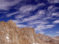 Sky High (acastellano) Tags: blue sky mountain mountains topv111 clouds rocks hiking explore backpacking whitney granite wilderness sierras mountwhitney sierranevada range muir elevation40004500m interestingness175 mountainssierranevada altitude4418m summitmtwhitney summitmtmuir altitude4271