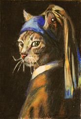 cat with a pearl earring (Telltale Crumbs) Tags: portrait art pencil cat silver painting tabby maggie colored spoof vermeer turban oldmaster coloredpencil headdress stiefvater