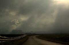 Dark satanic mills (~Glen B~) Tags: road uk light england clouds fence dark mine cleveland teesside beams cowbar boulby
