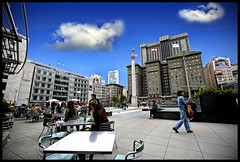 Union Square, San Francisco (say.fromage) Tags: sanfrancisco people usa holiday america canon shopping cafe eating shops sanfran unionsquare westinhotel 30d