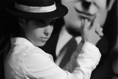 Gisela a la Cosa Nostra (Toni Blay) Tags: portrait bw blur girl blackwhite poser soft mood shadows dof antique background softness bodylanguage cinematic gisela cosanostra oldlooking
