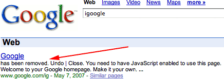 iGoogle in Google or Not?