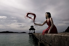 Floating Away (Shaolin Tiger) Tags: red portrait beach fashion asian grey jetty dramatic gritty cinematic perhentian kimberlycun dramaticportrait