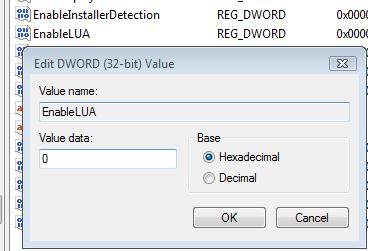 disable uac in windows vista using registry