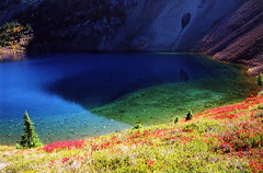 Colorful Lake (justb) Tags: mountain lake color reflection fall water colors beautiful scenery colorful bc reflect backcountry coquihalla naturesfinest colorphotoaward diamondclassphotographer