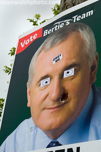 Defaced Fianna Fail election poster in  Ennistymon