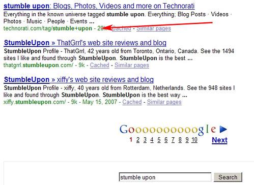 """Stumble Upon"" Search on Google"