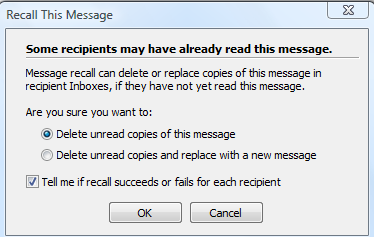 recall an email message