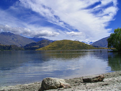 Wanaka (Danil) Tags: travel blue trees newzealand sky mountain lake reflection nature water beautiful clouds landscape island amazing scenery view south snowcapped slope nieuwzeeland superaplus aplusphoto