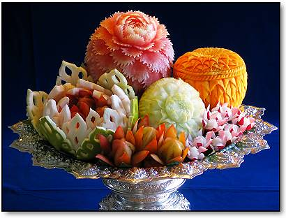 The beautiful and delicate art of Thai fruit carving (which I found on the Net)