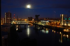 Clyde Arc bridge Glasgow 2006-01-14-07-47-16 (design is central) Tags: bridge moon scotland riverclyde clyde timelapse glasgow moonset