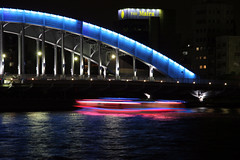 Lights on the river (OiMax) Tags: city bridge light urban japan night river geotagged tokyo boat shinkawa geo:lat=3567484 geo:lon=139786177