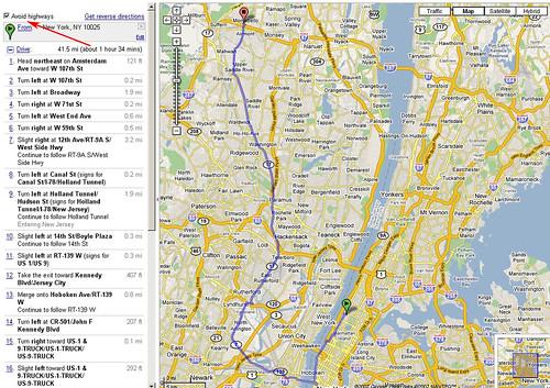Google Maps: Avoid Highways