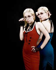 Twin Sisters (chrismaverick) Tags: blue red black dark glasses twins model shadows photoshoot multiplicity explore gloves clones blonde sailor chiaroscuro amaya clfsv petitie interestingness344