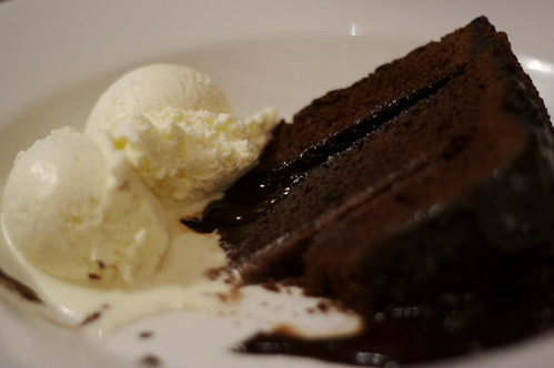 It's chocolate fudge cake with vanilla ice-cream.