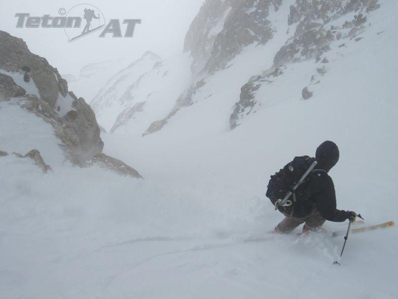 Chris Figenshau skis the bottom of West Peak North Couloir