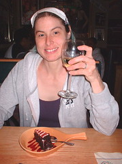 me with wine and cake