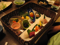 (birdfarm) Tags: food fish japan dinner sushi restaurant kyoto basket sashimi  ryokan