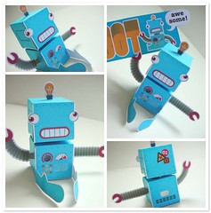 01 :: ROBOT :: 01 (Warm 'n Fuzzy) Tags: blue paper toy robot crazy awesome friday loulou papercraft ptf warmnfuzzy papertoy finly