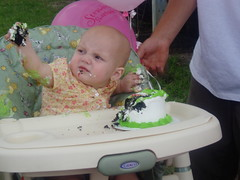 Hailey, demolishing her first birthday cake